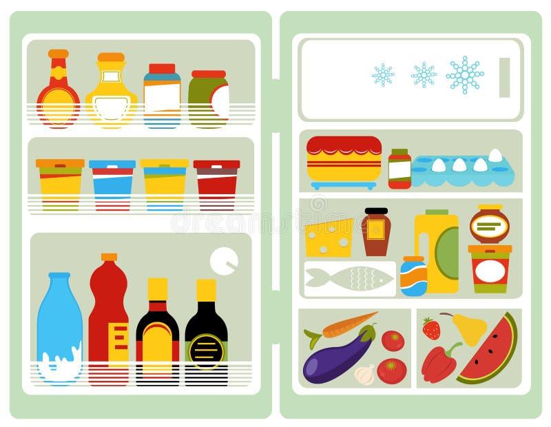 Open fridge. A vector illustration of an open fridge full of food and drinks royalty free illustration
