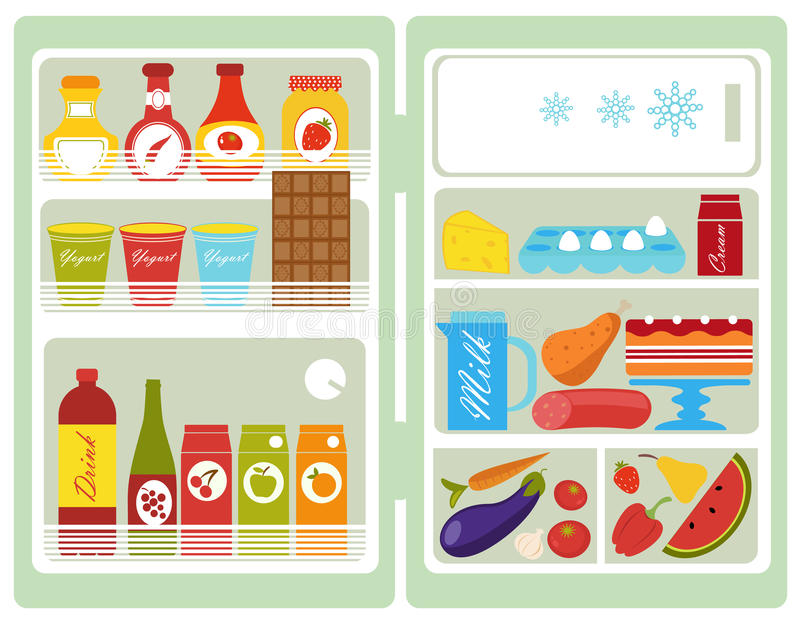 Open fridge. A colorful vector illustration of an open fridge full of food vector illustration
