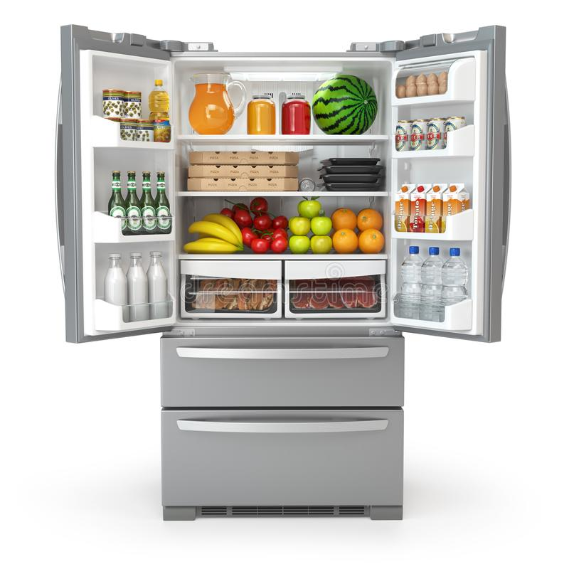 Open fridge refrigerator full of food and drinks isolated on wh. Ite background. 3d illustration stock illustration