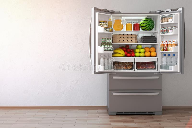 Open fridge refrigerator full of food in the empty kitchen inte. Rior. 3d Illustration royalty free illustration