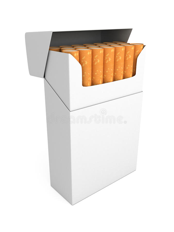 Open full pack of cigarettes isolated royalty free illustration