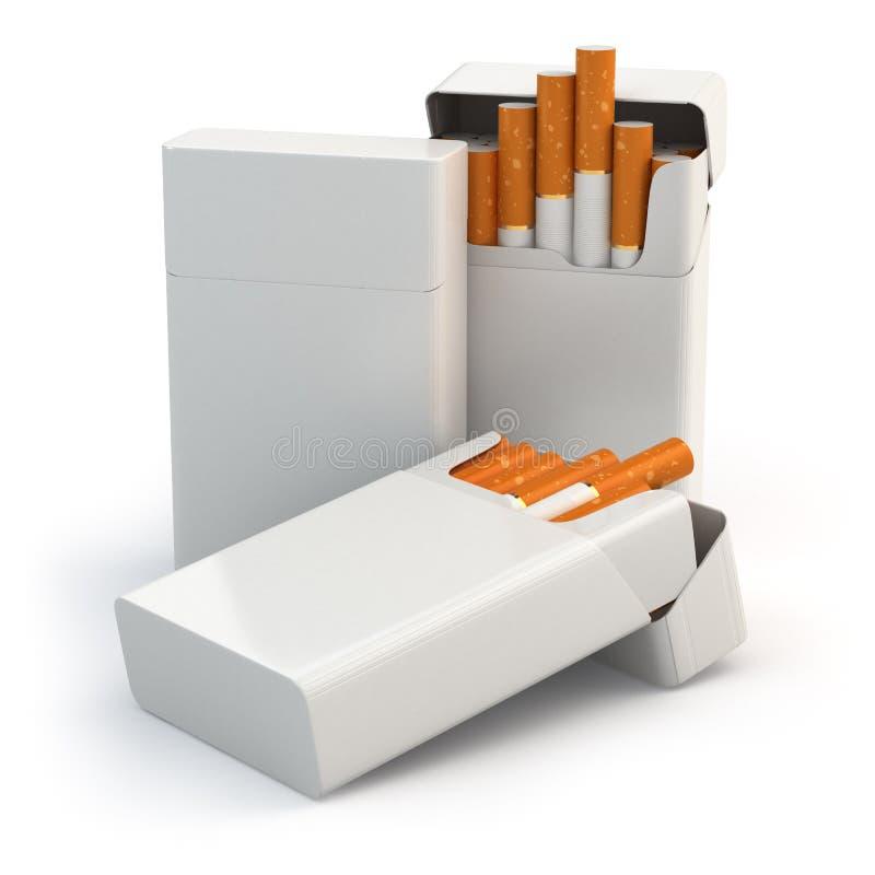 Open full packs of cigarettes on white background. stock illustration