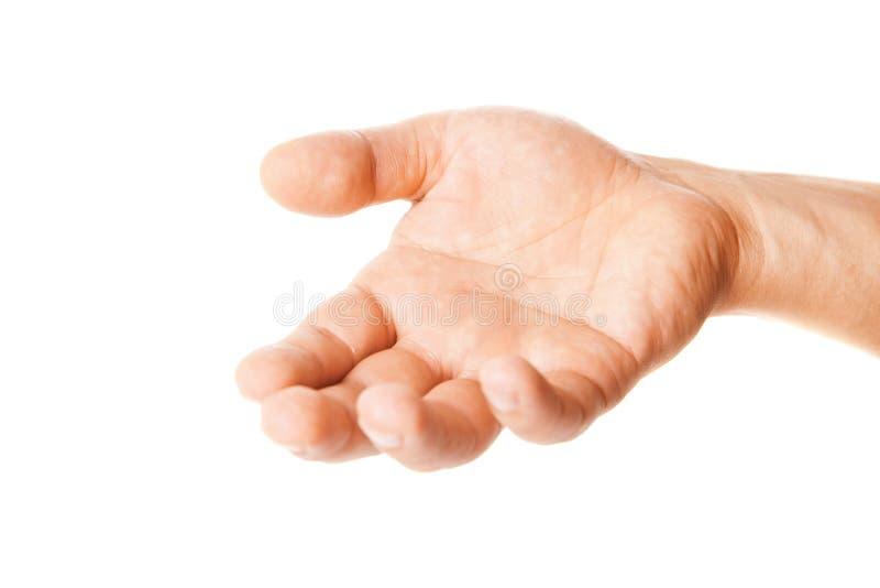 Open gömma i handflatan handgesten av mannen som isoleras på vit arkivfoton