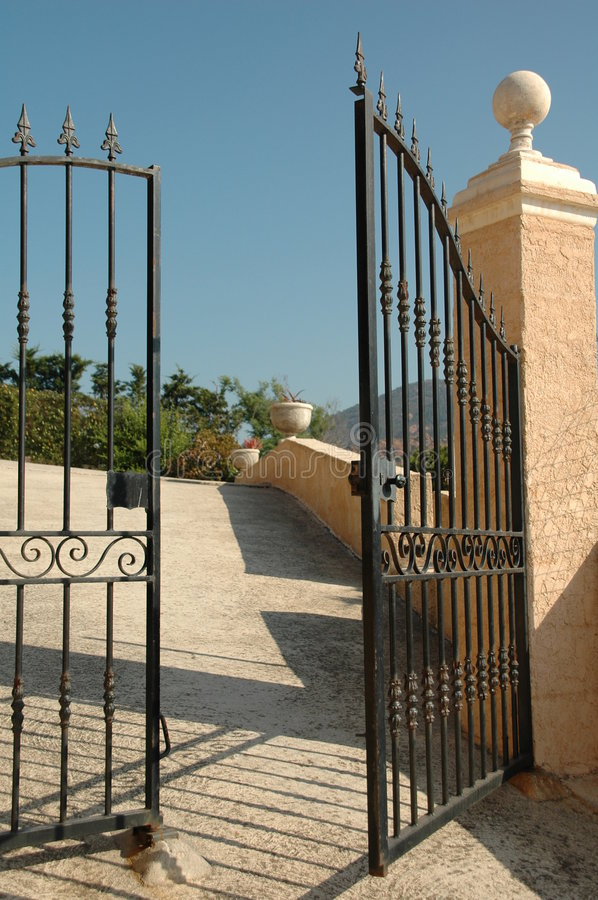 Open gate. With blue sky royalty free stock image
