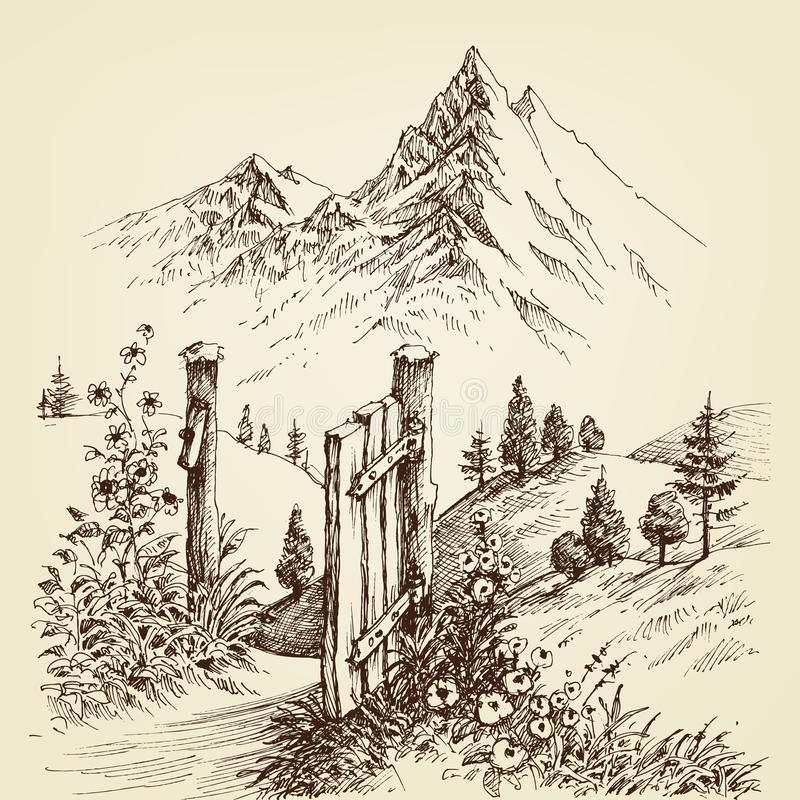 Open gate to the road to mountain. Alpine landscape drawing stock illustration