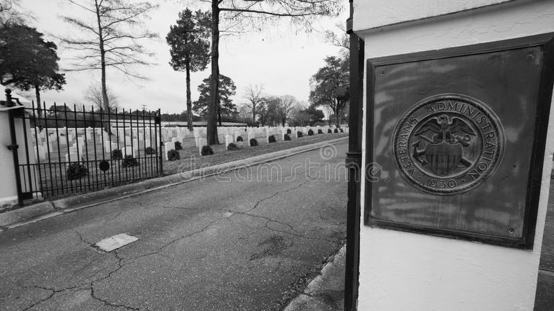 Veterans Memorial Park at Alexandria, Louisiana. The open gate welcoming visitors to a Civil War Veterans Memorial Park at Alexandria, Louisiana stock photography