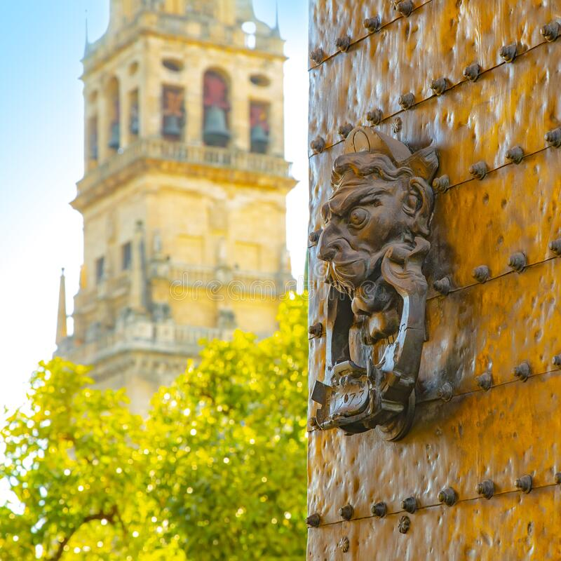 Open gates to Mosque Cathedral in Cordoba, Spain royalty free stock photography