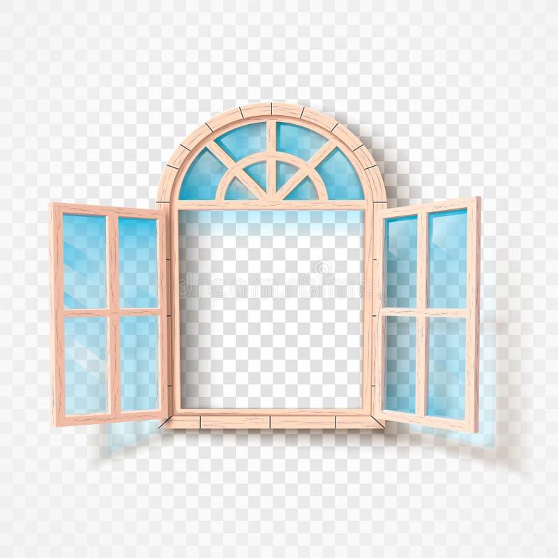 Open geïsoleerd venster Houten kader en glas Vector illustratie royalty-vrije illustratie