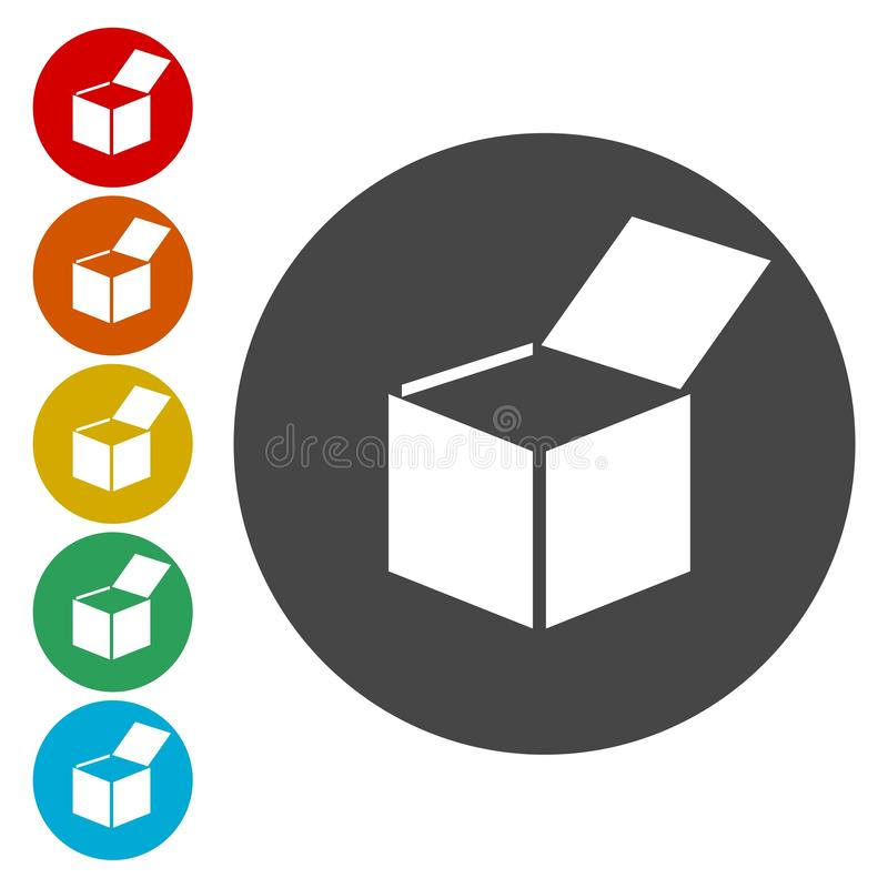 Open geplaatste doospictogrammen royalty-vrije illustratie
