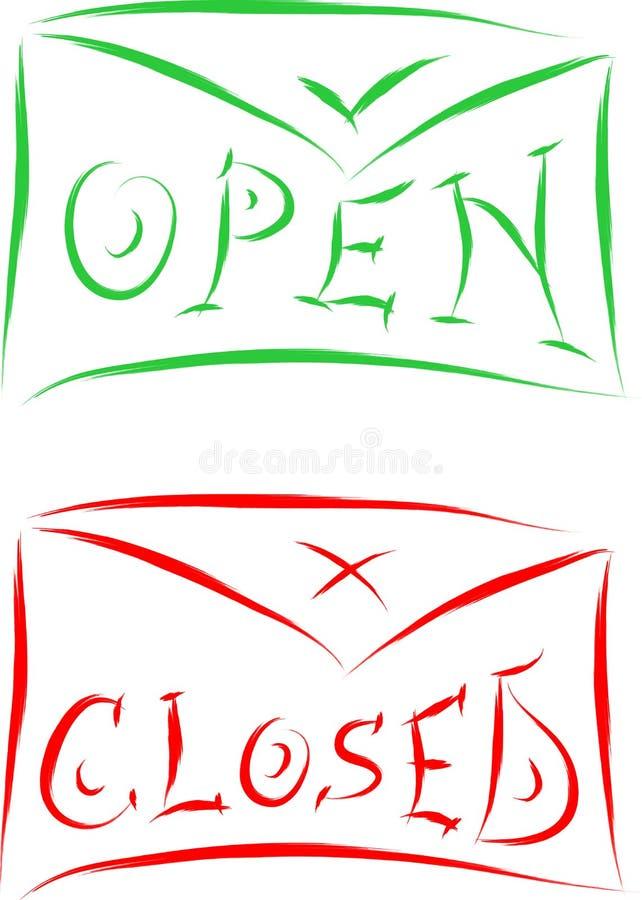 Open gesloten tekens royalty-vrije illustratie