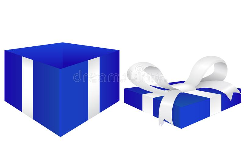 Open gift box. Blue box with red silk ribbon. Vector 3d illustration isolated on white background vector illustration