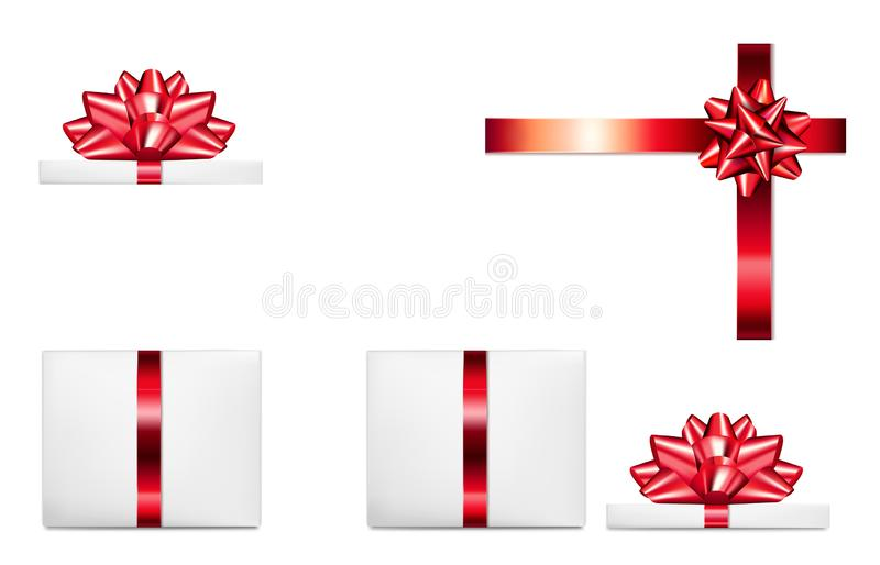 Open gift box with bow.  stock illustration