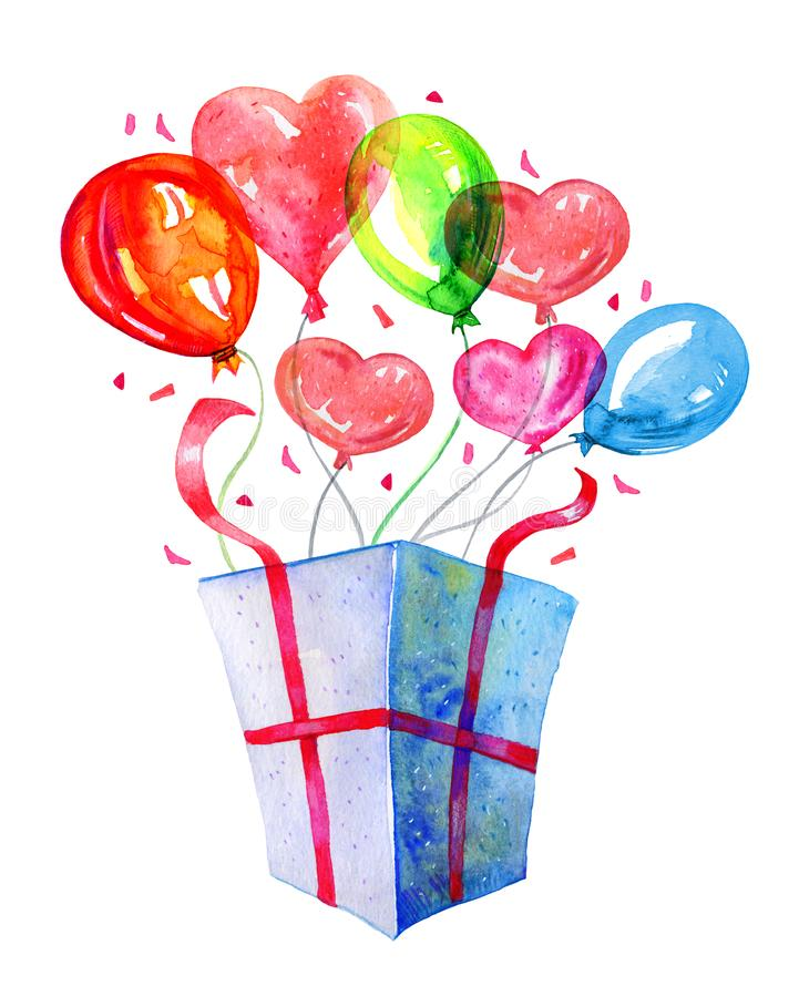 Open gift box with color balloons. Hand drawn watercolor illustration royalty free illustration