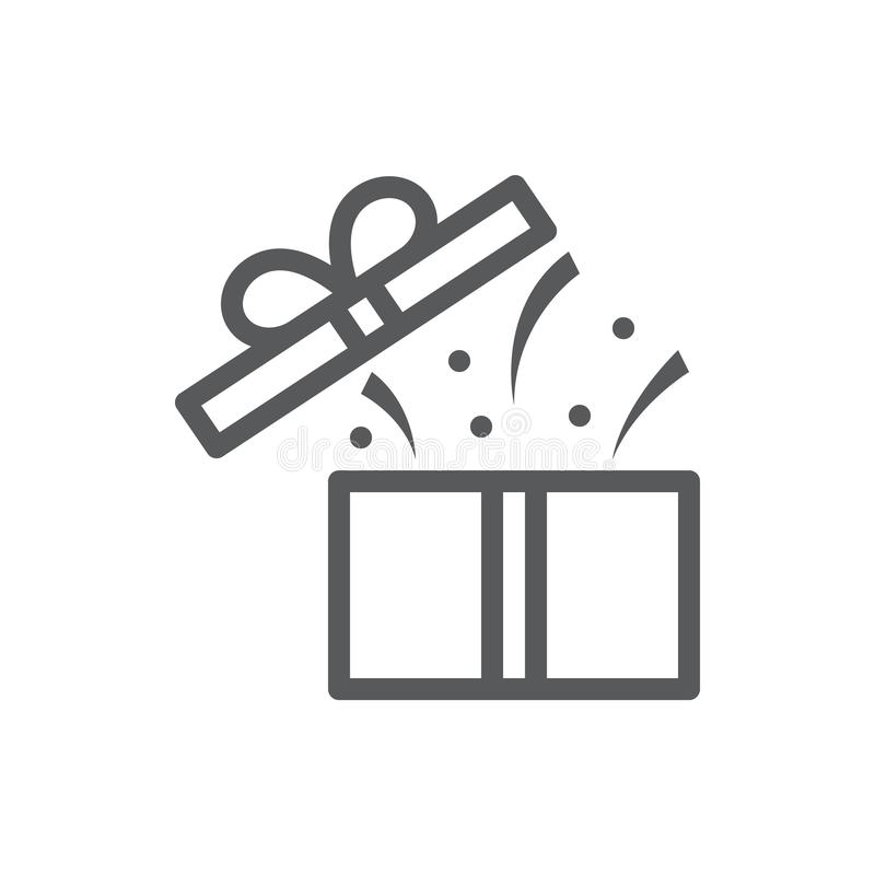 Open gift box with confetti and flying cover - surprise concept in pixel perfect thin line icon with editable stroke. royalty free illustration