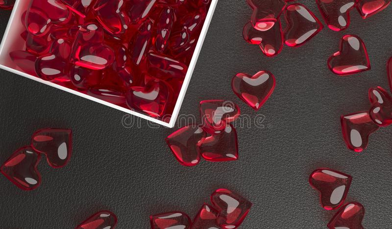 Open Gift Box Full Of Red Glass Hearts royalty free stock photos