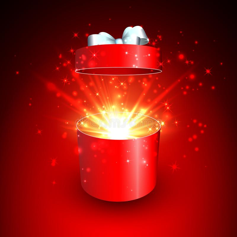 Open gift box and magic light fireworks Christmas vector background.  vector illustration