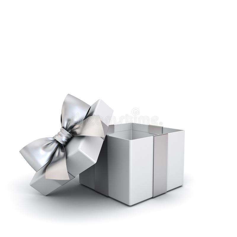 Free Open Gift Box Or Blank Present Box With Silver Ribbon And Bow Isolated On White Background Royalty Free Stock Photography - 130796987