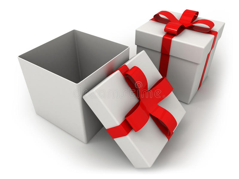 Open gift box over white background 3d illustration. Top view vector illustration