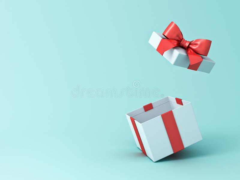 Open gift box or present box with red ribbon and bow isolated on green blue pastel color background stock illustration