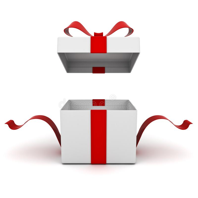 Open gift box present box with red ribbon bow isolated on white background royalty free illustration