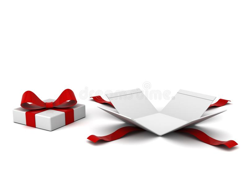 Open gift box present box with red ribbon and bow isolated on white background with shadow royalty free illustration