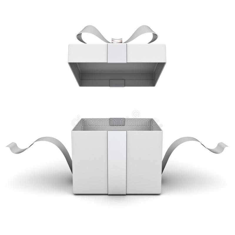 Open gift box , present box with silver ribbon and bow isolated on white background royalty free illustration