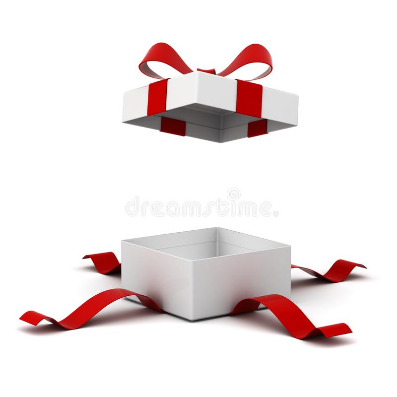 Open gift box present box with red ribbon bow isolated on white background with shadow royalty free illustration