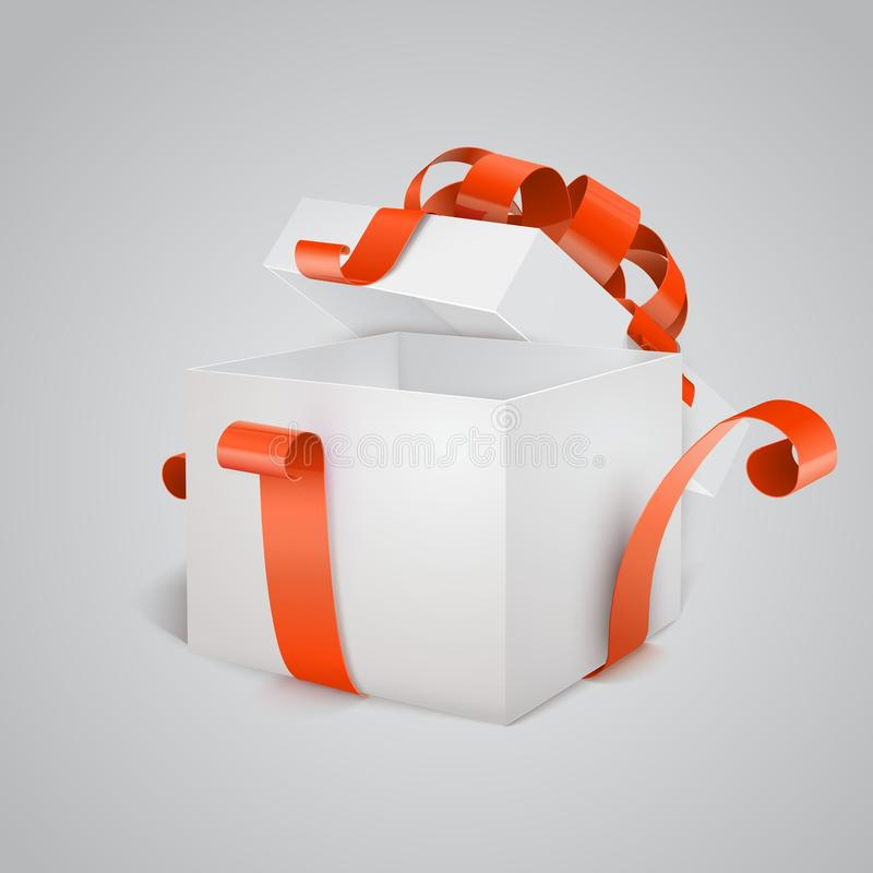 Open gift box with red bow isolated on white. royalty free illustration