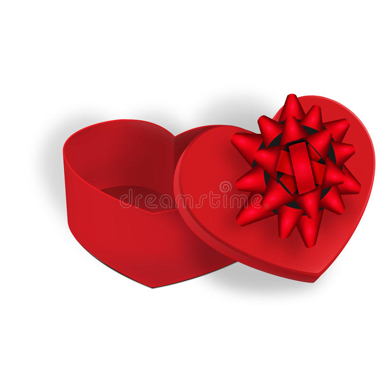 Open gift box with a red bow on a white background with shadow. illustration royalty free illustration