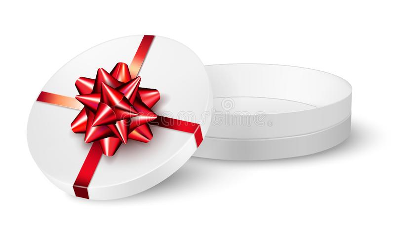 Open gift box with red ribbon and bow royalty free illustration