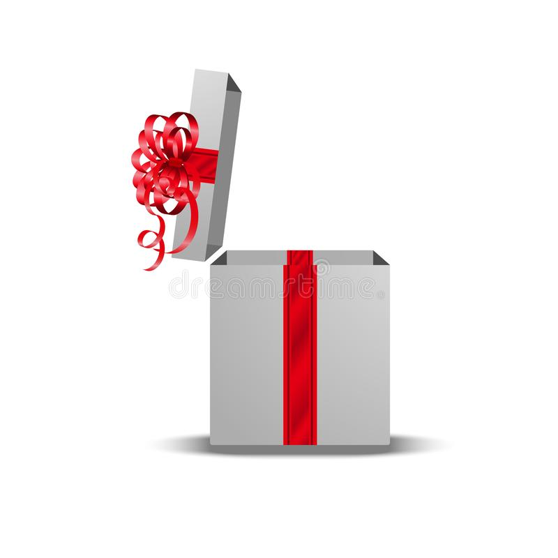 Open gift box with red ribbon and bow on white background stock illustration