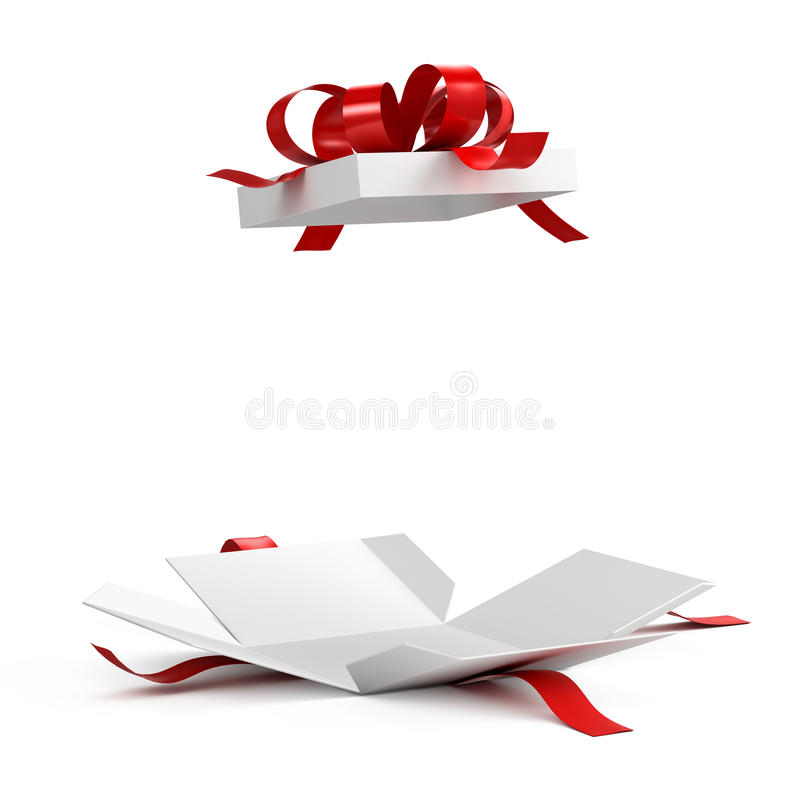 Open gift box with red ribbon. On white background