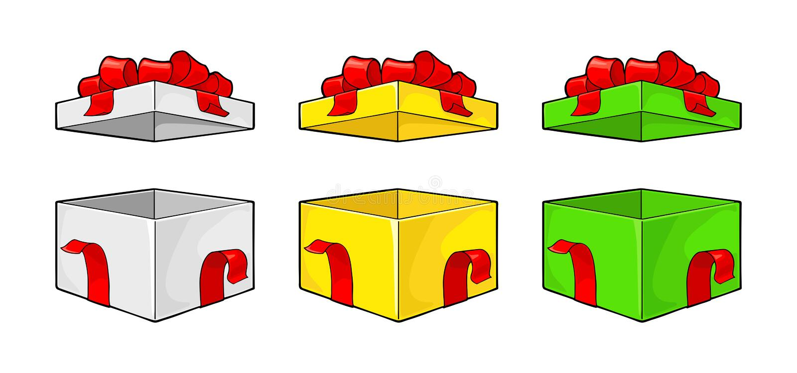 Open gift box with ribbon, bow and ray. Vector engraving stock illustration