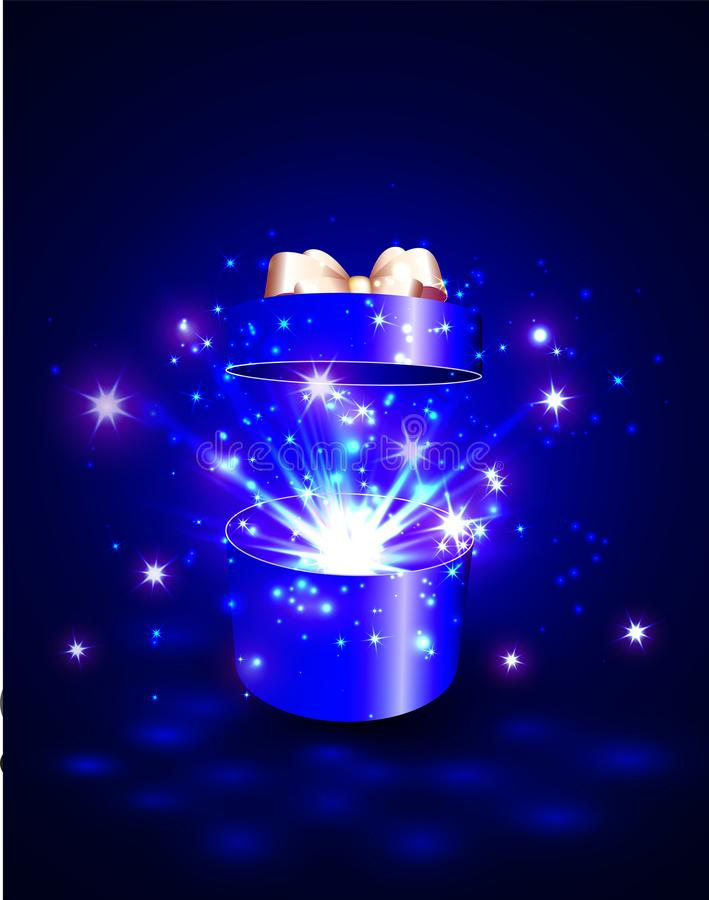 Open gift box with surprise and magic light fireworks.  stock illustration