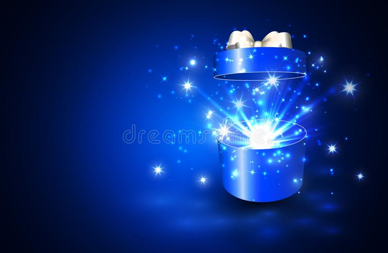 Open gift box with surprise and magic light fireworks.  vector illustration
