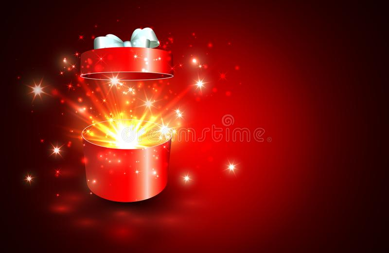 Open gift box with surprise and magic light fireworks.  royalty free illustration