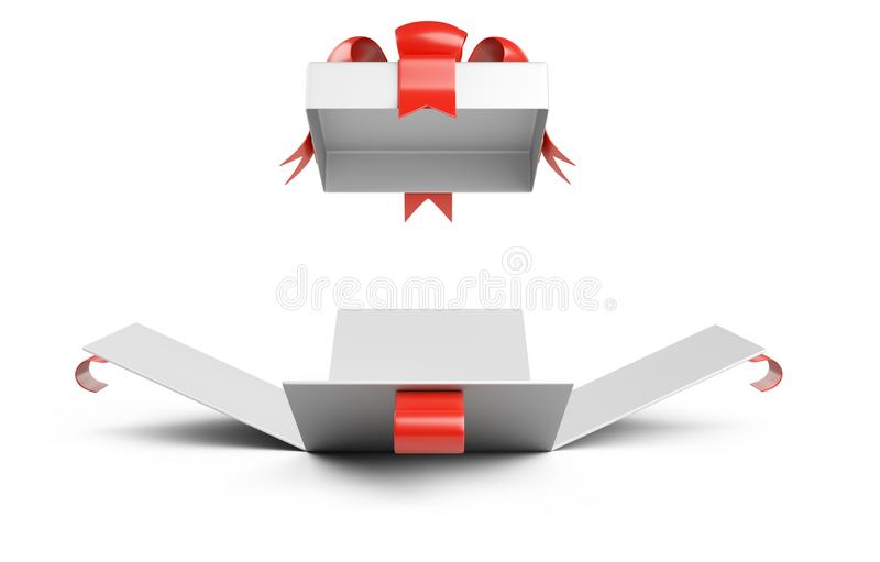 Open gift christmas box blank front wiev with red bow. vector illustration