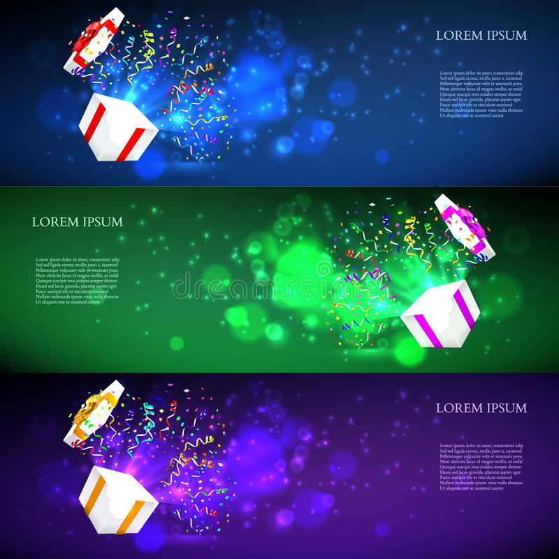 Open gift with fireworks from confetti. vector. Illustration vector illustration
