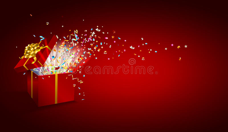 Open gift with fireworks from confetti on wooden background. . Congratulations on holiday. Border design. Background for promotions and offers. Vector vector illustration