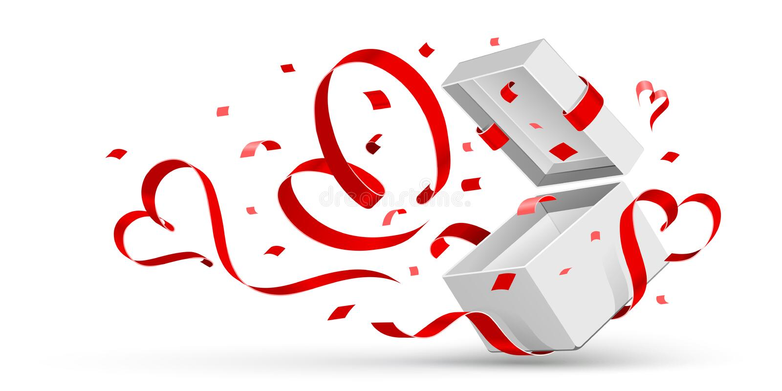 Open gift with hearts royalty free stock images