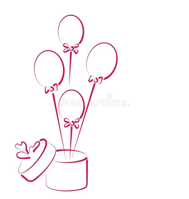 Open giftdoos met ballons voor uw vakantie royalty-vrije illustratie