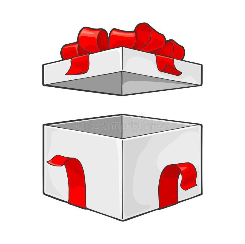 Open giftdoos met lint, boog en straal Vectorgravure vector illustratie