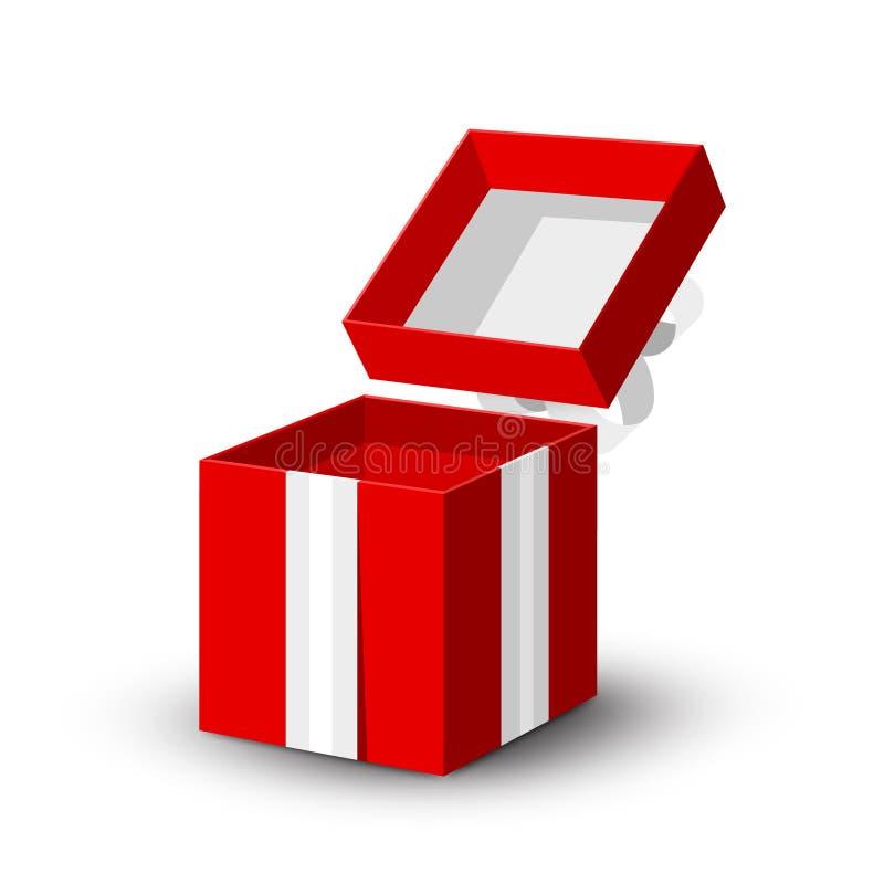 Open giftdoos Vector Rood Document Huidig Vakje royalty-vrije illustratie