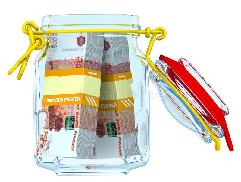 Open glass jar with bundles of 5,000 Russian rubles banknotes stock illustration