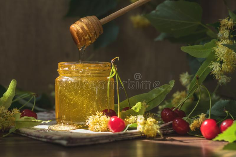 Open glass jar of liquid honey and honey dipper, bunch of linden royalty free stock image