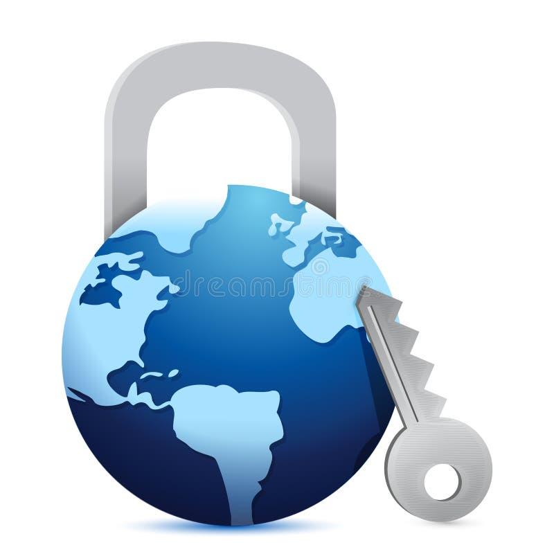 Download Open globe 'lock' stock illustration. Illustration of europe - 28942835