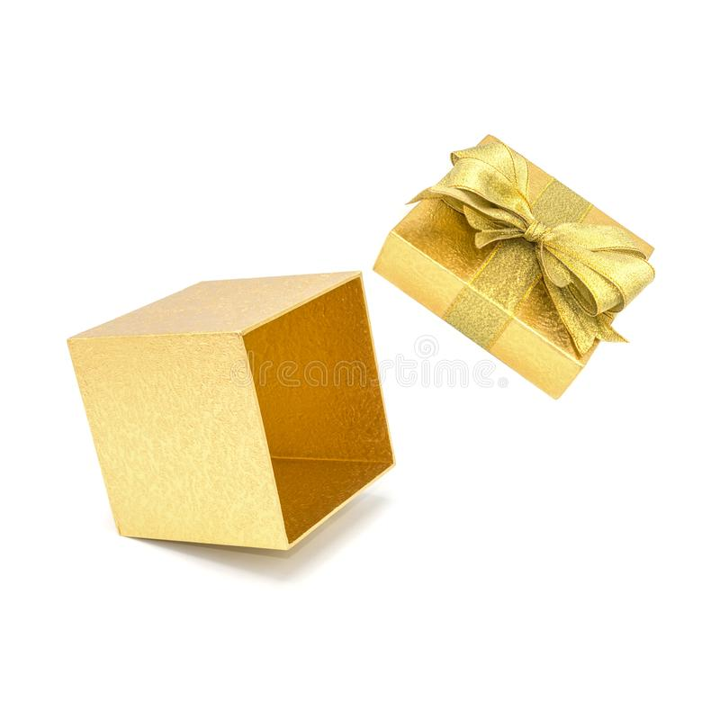 Open gold gift box with gold ribbon. stock image