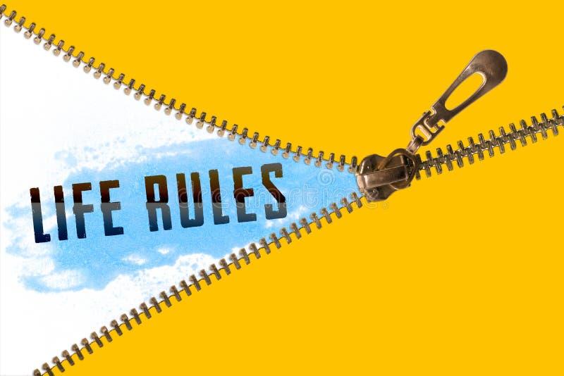 Life rules word under zipper stock illustration