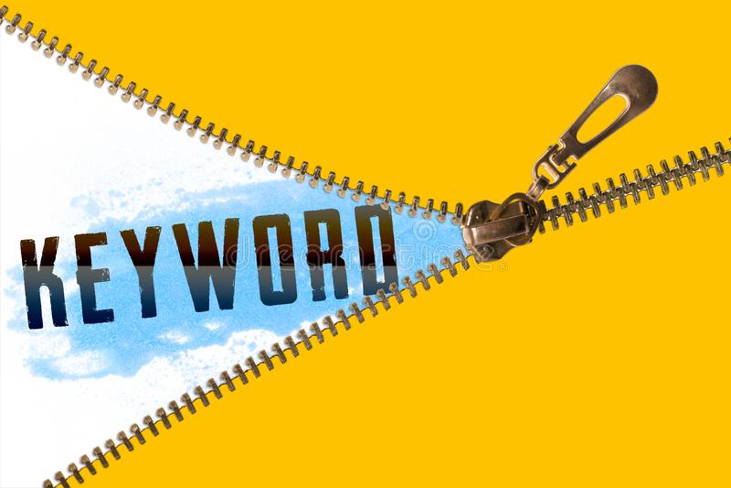 Keyword word under zipper royalty free stock image