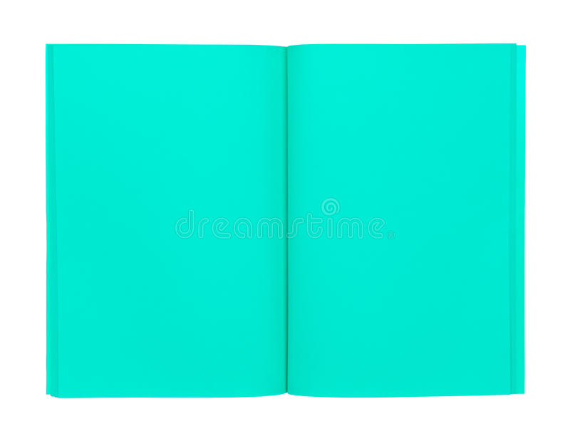 Open green book isolated on white stock photos